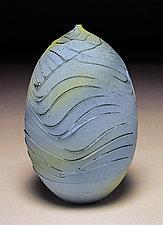 Pale Blue Teardrop Topography by Nicholas Bernard (Ceramic Vase)