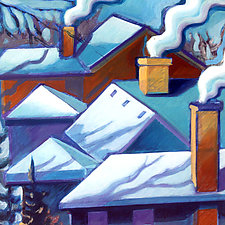 Winter View—Rooftops by Jason Watts (Oil Painting)