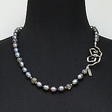 Chinese Freshwater Pearls, Labradorite, and Silver Necklace by Kathleen Lynagh (Silver, Stone & Pearl Necklace)