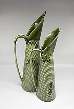 Ibis Pitcher with Falling Leaf Pattern by Kim Cutler (Ceramic Pitcher)
