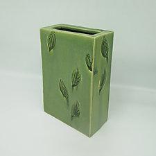 Rectangular Falling Leaf Vase by Kim Cutler (Ceramic Vase)