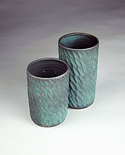 Carved Vase/Tumbler by Kim Cutler (Ceramic Drinkware)