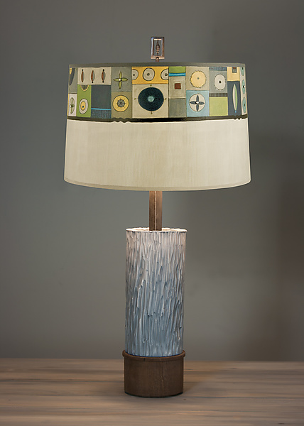 Ceramic and Wood Table Lamp with Large Conical Shade in Lucky Mosaic Oyster