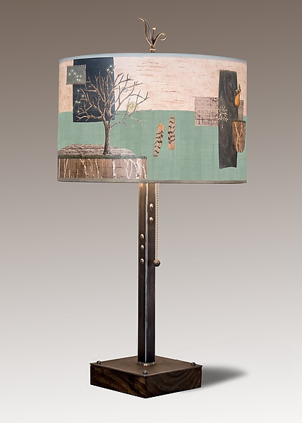 Steel Table Lamp on Wood with Large Drum Shade in Wander in Field