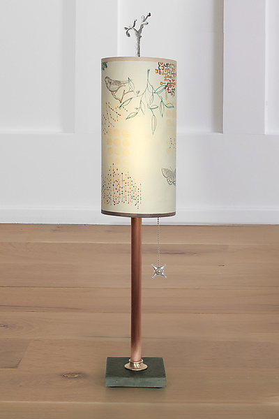 Copper Table Lamp with Small Tube Shade in Ecru Journey