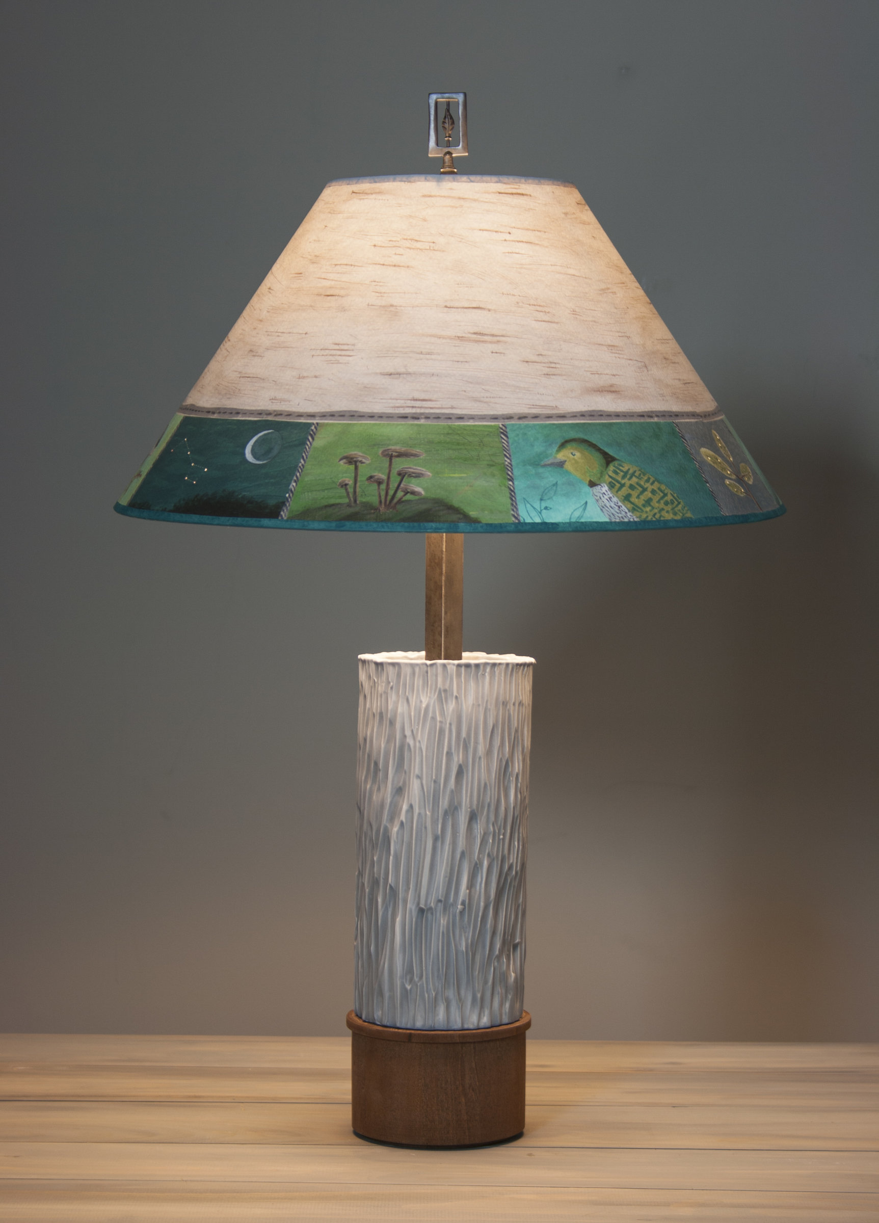 Ceramic And Wood Table Lamp With Large Conical Shade In Woodland
