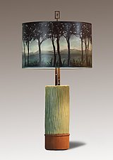 Ceramic and Wood Table Lamp with Large Drum Shade in Twilight by Janna Ugone (Mixed-Media Table Lamp)