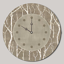 Round Wall Clock in Twigs by Janna Ugone and Justin Thomas (Wood Clock)