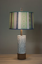 Ceramic and Wood Table Lamp with Large Drum Shade in Serape Waters by Janna Ugone and Justin Thomas (Mixed-Media Table Lamp)