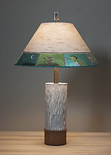 Ceramic and Wood Table Lamp with Large Conical Shade in Woodland Trails Birch by Janna Ugone (Mixed-Media Table Lamp)