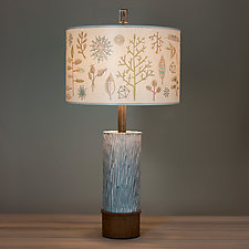 Ceramic and Wood Table Lamp with Large Drum Shade in Field Chart by Janna Ugone (Mixed-Media Table Lamp)