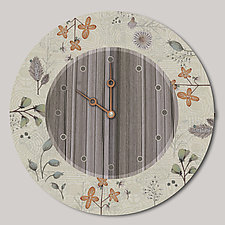 Round Wall Clock in Flora and Maze by Janna Ugone and Justin Thomas (Wood Clock)