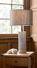Ceramic and Wood Table Lamp with Large Drum Shade in Twigs by Janna Ugone (Mixed-Media Table Lamp)