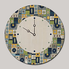 Round Wall Clock in Lucky Mosaic Oyster by Janna Ugone and Justin Thomas (Wood Clock)
