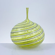 Mini Bottle in Yellow and Gray by Michael Hayes (Art Glass Vessel)
