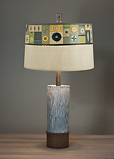 Ceramic and Wood Table Lamp with Large Conical Shade in Lucky Mosaic Oyster by Janna Ugone (Mixed-Media Table Lamp)
