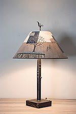 Steel Table Lamp on Wood with Large Conical Shade in Wander in Drift by Janna Ugone (Mixed-Media Table Lamp)