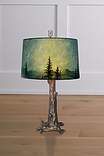 Bronze Tree Table Lamp with Large Drum Shade in Midnight Sky by Janna Ugone (Mixed-Media Table Lamp)