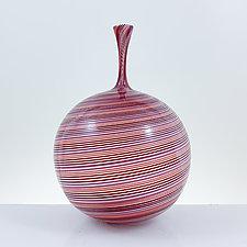 Mini Bottle in Pinks by Michael Hayes (Art Glass Vessel)