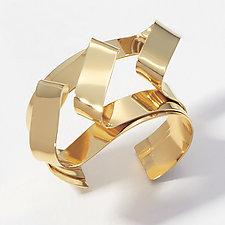 Deco Cuff Bracelet by Mia Hebib (Gold & Brass Bracelet)
