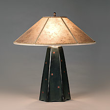 Six-Sided Lamp in Onyx with Red Squares by Jim Webb (Ceramic Table Lamp)