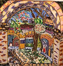 Revisiting the Courtyard in Oaxaca by Nan Hass Feldman (Mixed-Media Painting)