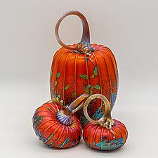 Set of Three Pumpkins in Harvest by Jack Pine (Art Glass Sculpture)