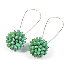 Fuzzy Ball Earrings by Olga Mihaylova (Beaded Earrings)