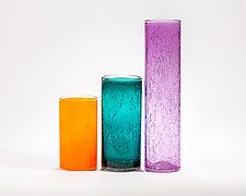 Narrow Bubble Cylinders by Public Glass (Art Glass Vase)