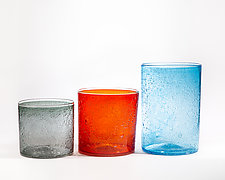Wide Bubble Cylinders by Public Glass (Art Glass Vase)