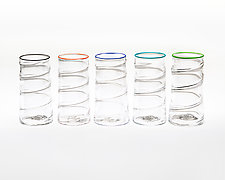 Clear Spiral Glass by Public Glass (Art Glass Drinkware)