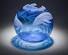 Humpback Whale Family by Cynthia Myers (Art Glass Vessel)