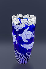 Sea Turtles and Dolphins by Cynthia Myers (Art Glass Vase)