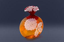 Olivia's Dahlias by Cynthia Myers (Art Glass Vase)