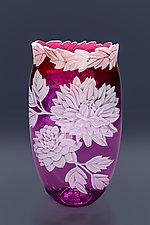Dahlias Galore by Cynthia Myers (Art Glass Vase)