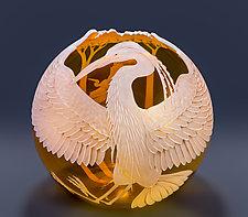 Great Blue Heron by Cynthia Myers (Art Glass Vessel)