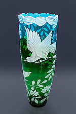 Band Tailed Pigeons by Cynthia Myers (Art Glass Vase)