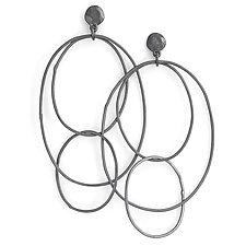 Multi Hoops in Oxidized Silver by Shaya Durbin (Silver Earrings)
