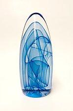 Blue Geyser Intertwined by Edward Kachurik (Art Glass Paperweight)