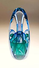 Interlaced Triple Illusion by Edward Kachurik (Art Glass Paperweight)