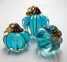 Blue Pumpkin by Michael Richardson, Justin Tarducci, and Tim Underwood (Art Glass Sculpture)