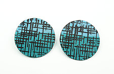 Mod Print Screenprint Earrings by Tanya Crane (Steel Earrings)