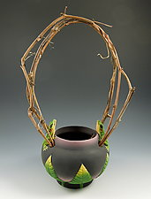 Woodland Frog Basket by Nancy Y. Adams (Ceramic Sculpture)