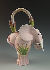 Pink Elephant Tea II by Nancy Y. Adams (Ceramic Teapot)