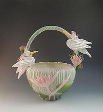 Two Heron Vessel II by Nancy Y. Adams (Ceramic Vessel)