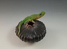 Lizard Bowl by Nancy Y. Adams (Ceramic Sculpture)