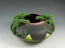 Five Lizards Bowl by Nancy Y. Adams (Ceramic Sculpture)