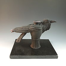 Raven Tea by Nancy Y. Adams (Ceramic Sculpture)