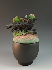 Raven Acorn Box by Nancy Y. Adams (Ceramic Sculpture)