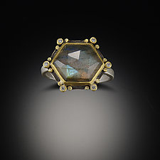 Geometric Labradorite Ring by Ananda Khalsa (Gold, Silver & Stone Ring)